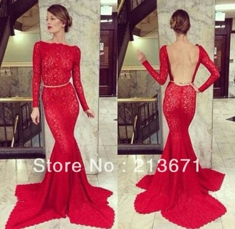 dress red lace dress backless dress long dress mermaid prom dress fitted dress