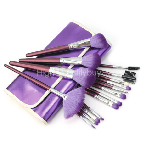 make-up purple set makeup brushes cosmetics soft kit purple case pouch beautiful hair face makeup party make up first date