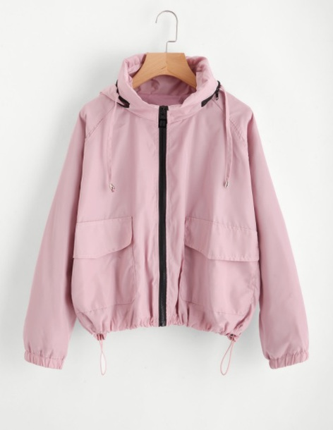 jacket girly zip zip up jacket pink windbreaker