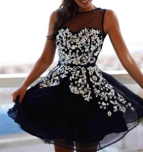 dress black strass navy prom girl fashion glamour cute cute dress prom dress girly little black dress silver glitter short transparent silver glitter white black and white