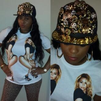 hat beyonce shirt cap gold white beyonce shirt style black girls killin it lip gloss leopard print printed leggings