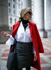 coat,tumblr,winter work outfit,work outfits,office outfits,red coat,shirt,white shirt,turtleneck,black turtleneck top,black top,top,necklace,silver necklace,jewels,jewelry,skirt,mini skirt,grey skirt,bag,black bag,sunglasses