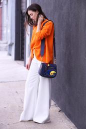 inspades,blogger,bag,sweater,pants,shoes,shoulder bag,orange sweather,wide-leg pants,white pants