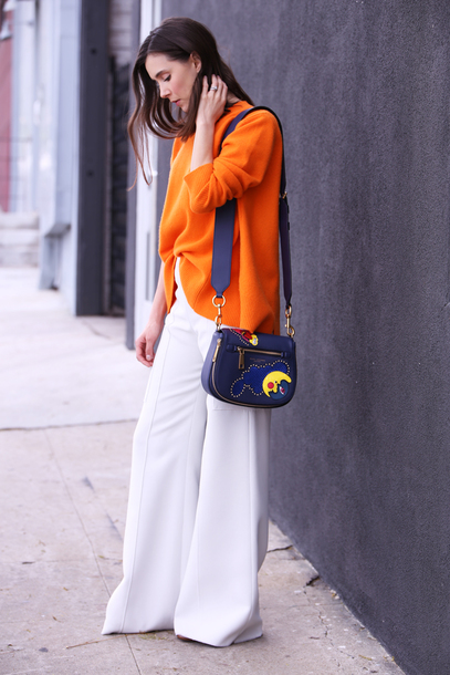 inspades blogger bag sweater pants shoes shoulder bag orange sweather wide-leg pants white pants