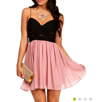 dress pink girly cute prom homecoming jewels jewelry cut-out colorblock purse clutch straps gold spaghetti strap
