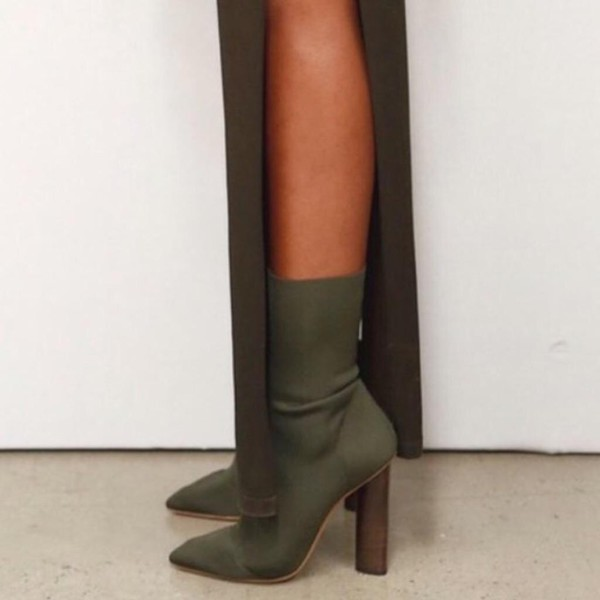 0415121811d1 shoes high heels booties green khaki boots heels yeezy season.
