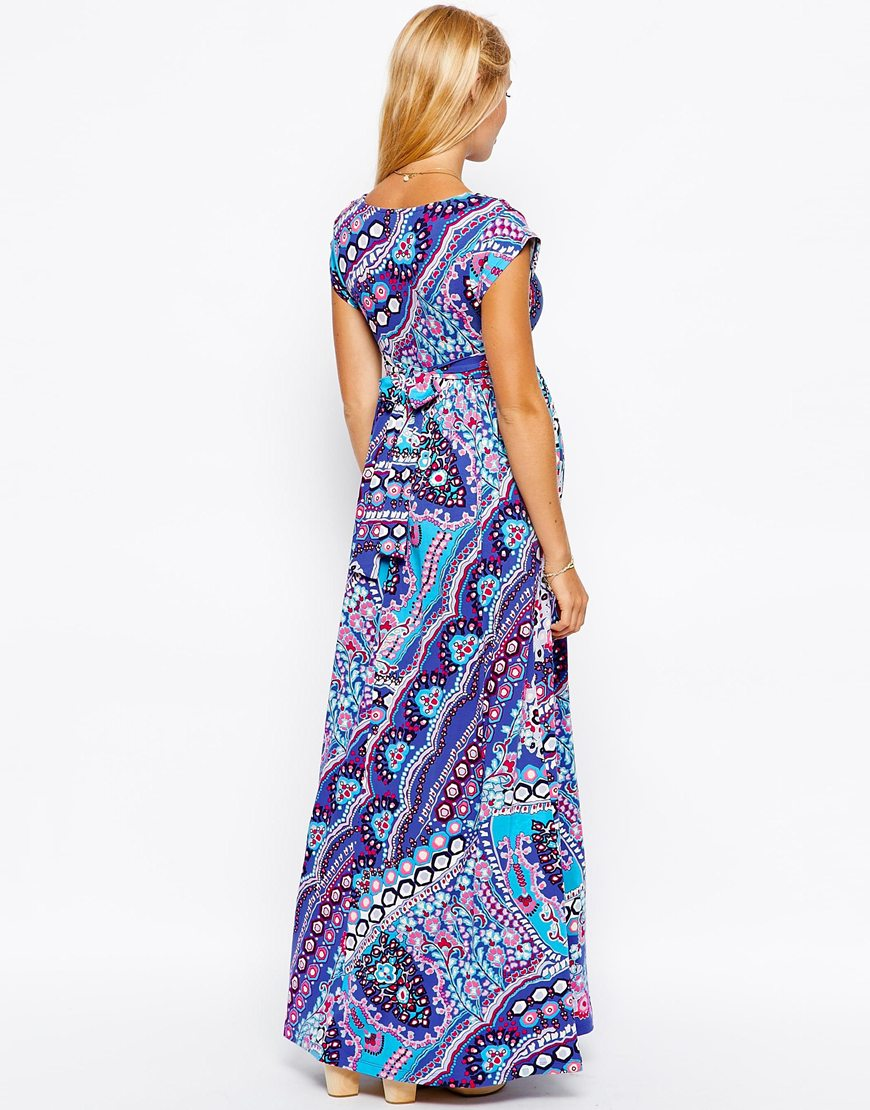 ASOS Maternity Exclusive Drape Maxi Dress With Ties In Boho Print at asos.com