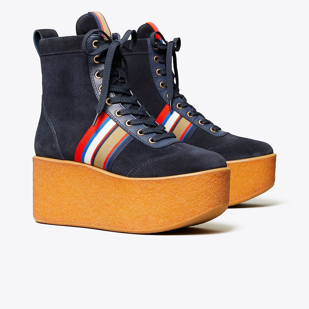 Striped High-Top Platform Sneakers Boots