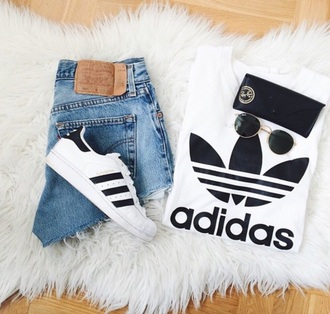 shoes white classy urban style jeans adidas black