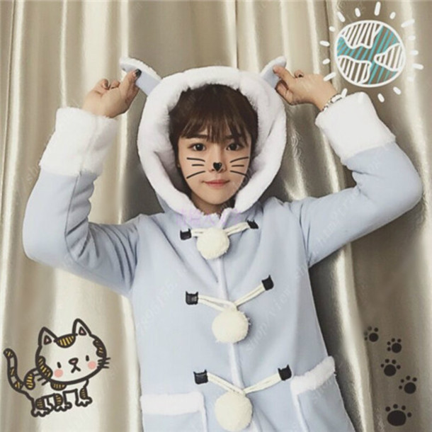 657fe4f78 coat baby blue sky pastel pastel blue fairy kei kawaii kawaii jfashion cute  cats cats warm