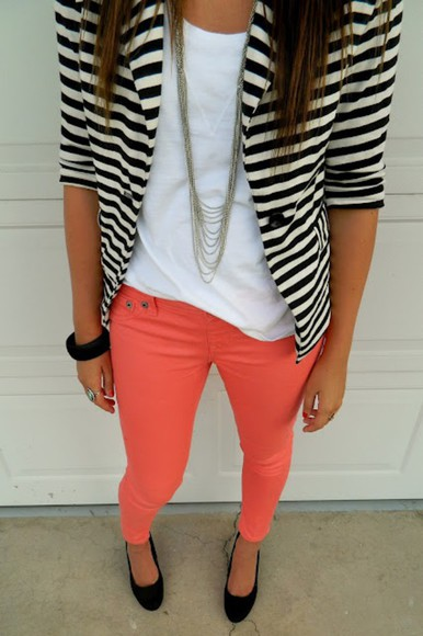 color skinny jacket stripe