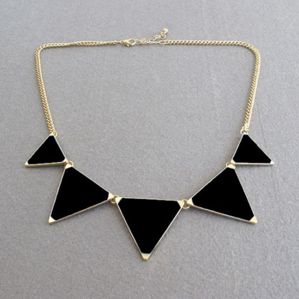 jewels necklace black beautiful triangle