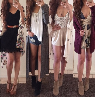 cardigan cute fall outfits warm boho bohemian lace cardigh long shoes necklace belt pants skirt crop tops crop tops embrodering