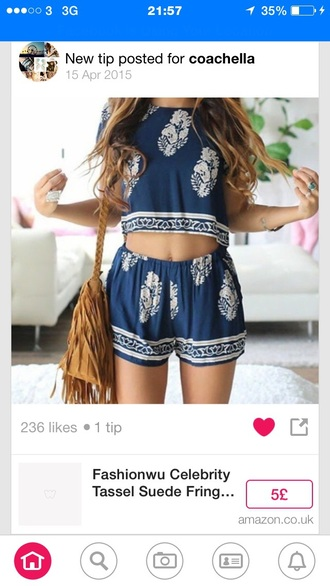 jumpsuit top shorts blue pattern crop bag