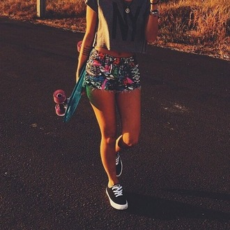 shorts funky penny board scateboard cute cool pattern bohemian jeans shorts colorful multi colored bottoms tight bottom