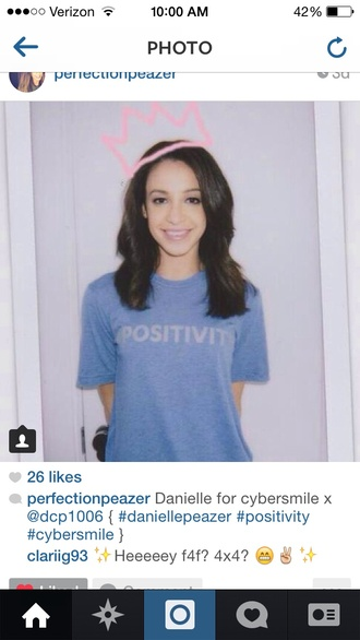 t-shirt blue blue shirt blue tshirt blue t-shirt positive positive vibes positive thinking danielle peazer shirt band t-shirt liam payne