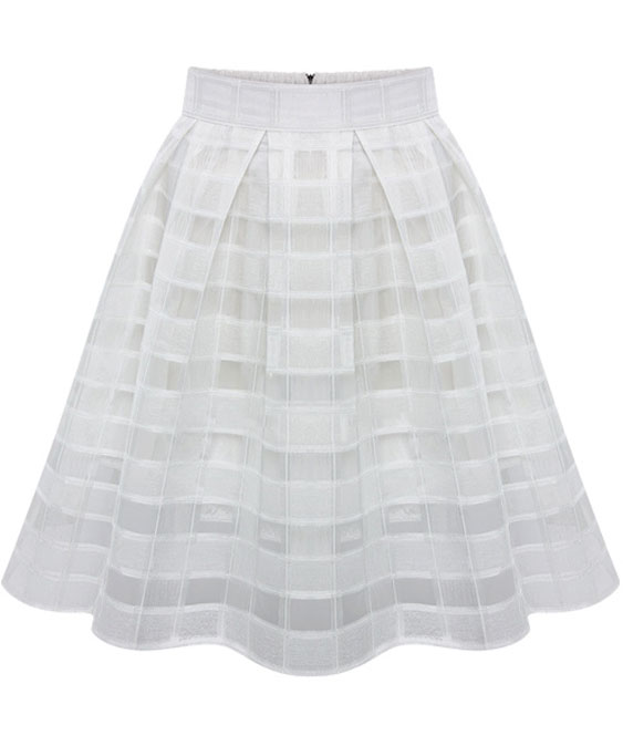 White High Waist Plaid Flare Chiffon Skirt - Sheinside.com