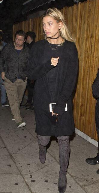 cardigan boots hailey baldwin dress black dress fall outfits