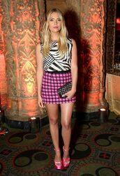 skirt,ashley benson,celebrity style,celebrity,actress,pink skirt,mini skirt,zebra print,sandals,sandal heels,high heel sandals