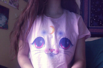 t-shirt pale tumblr top girly top cat tee moon