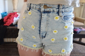 shorts,daises,bleached,washed,jeans,high waisted,acid wash,frayed