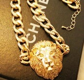 jewels,necklace,gold,lion head,cool