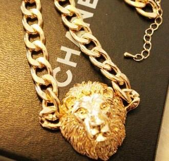necklace jewels golden lion head cool