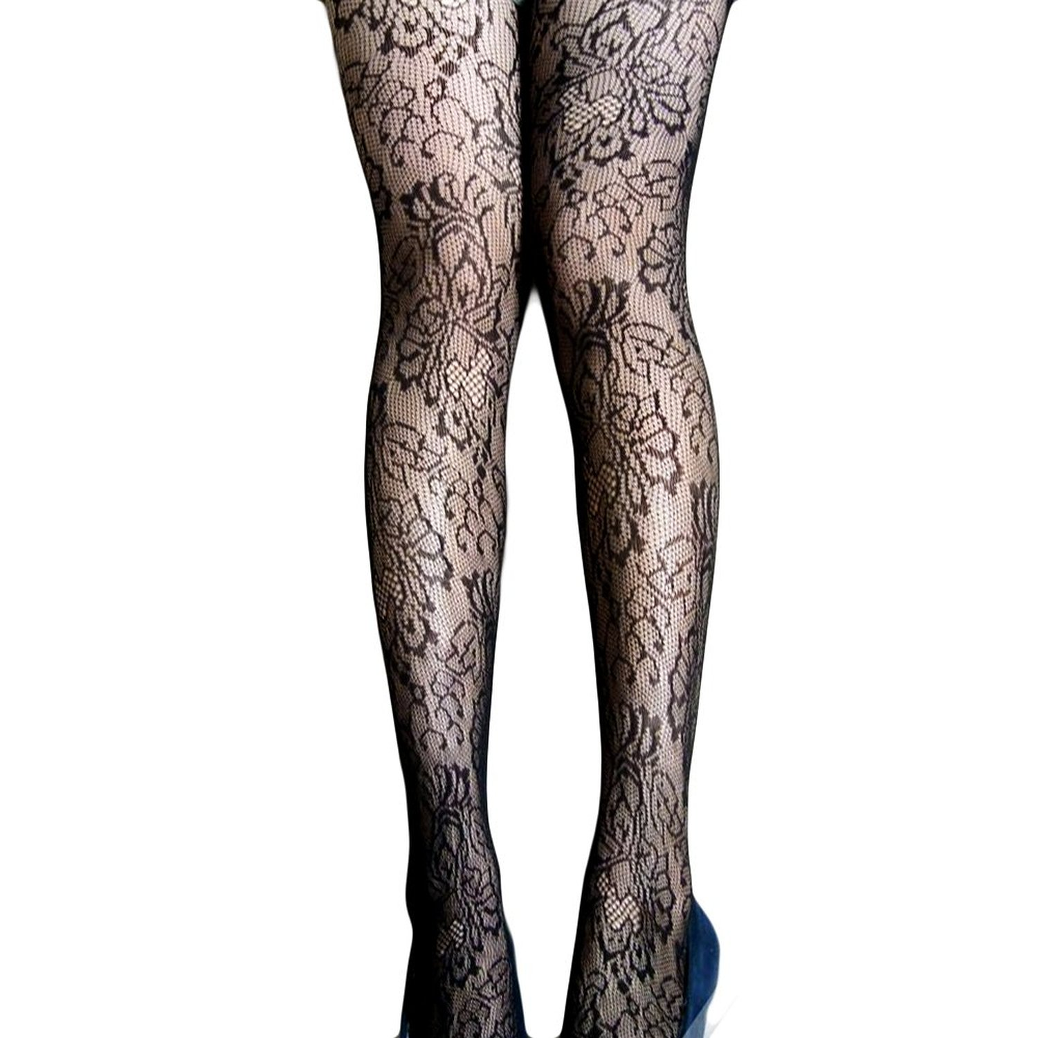 Locomo black floral flower pantyhose stocking fft171 at amazon women's clothing store: