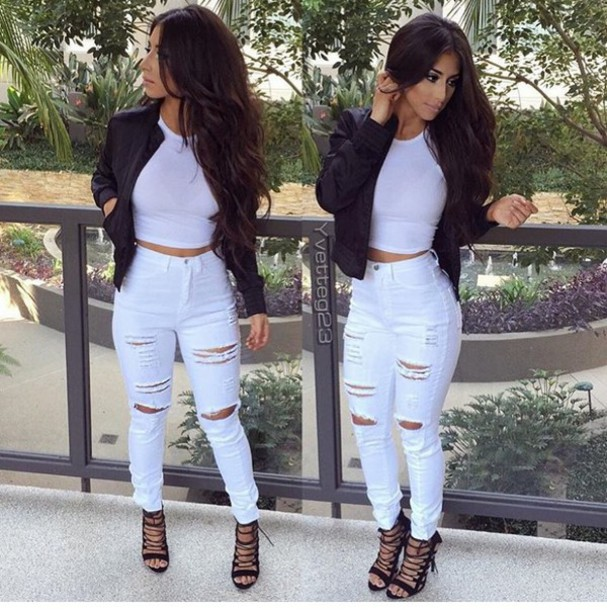 214cce18035 jeans tied up heels leather coat white ripped jeans white jeans white crop  tops crop tops