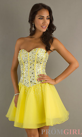 Strapless homecoming party corset dress