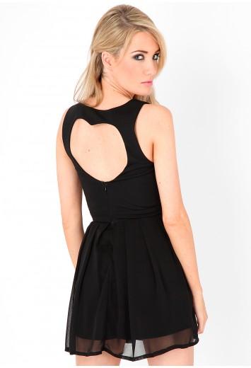 Ginea Heart Open Back Skater Dress - dresses - missguided
