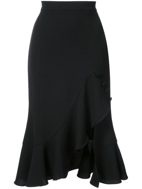 skirt midi skirt ruffle women midi spandex black silk