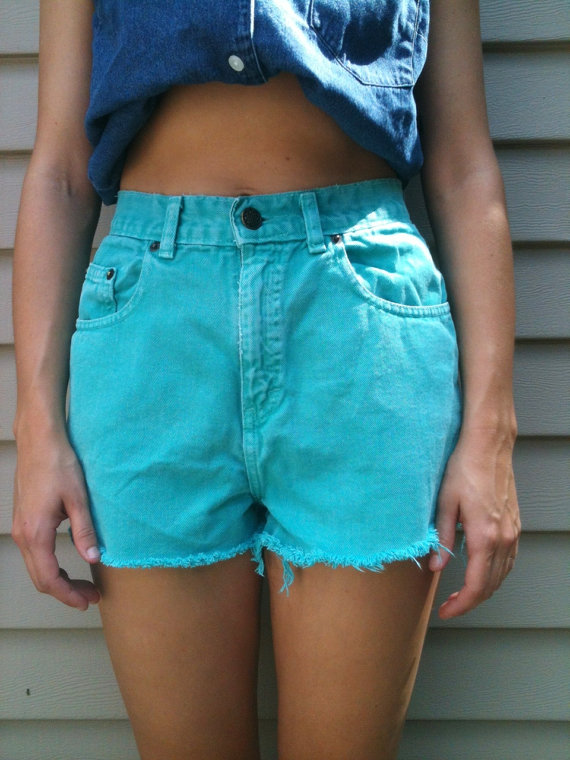 Vintage teal high waisted denim cut offs by wonderyearsvintage