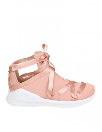 sneakers. sneakers pink satin beige shoes