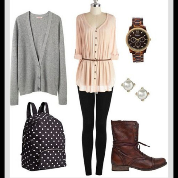 earrings jewels blouse cardigan shoes bag Belt watch boots backpack leggings