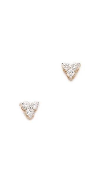 Adina Reyter Diamond Cluster Earrings - Gold/Clear