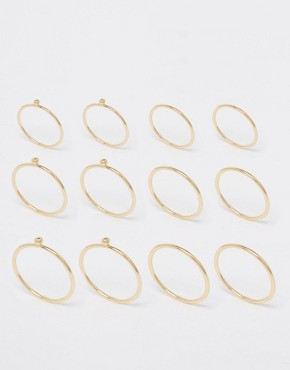ASOS 12 Pack Fine Rings with Ball Detail at asos.com