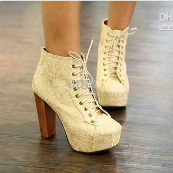 cream wooden heel lace floral pattern