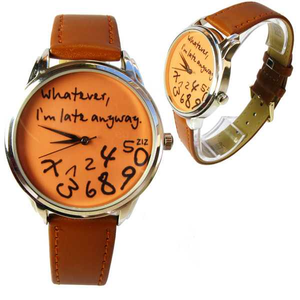jewels designer watch unusual watch unique watch original watch leather watch orange ziziztime ziz watch whatever i'm late anyway whatever whatever i'm late anyway watch brown