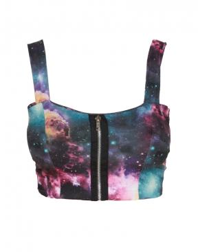 Purple galaxy print zip front bralet top