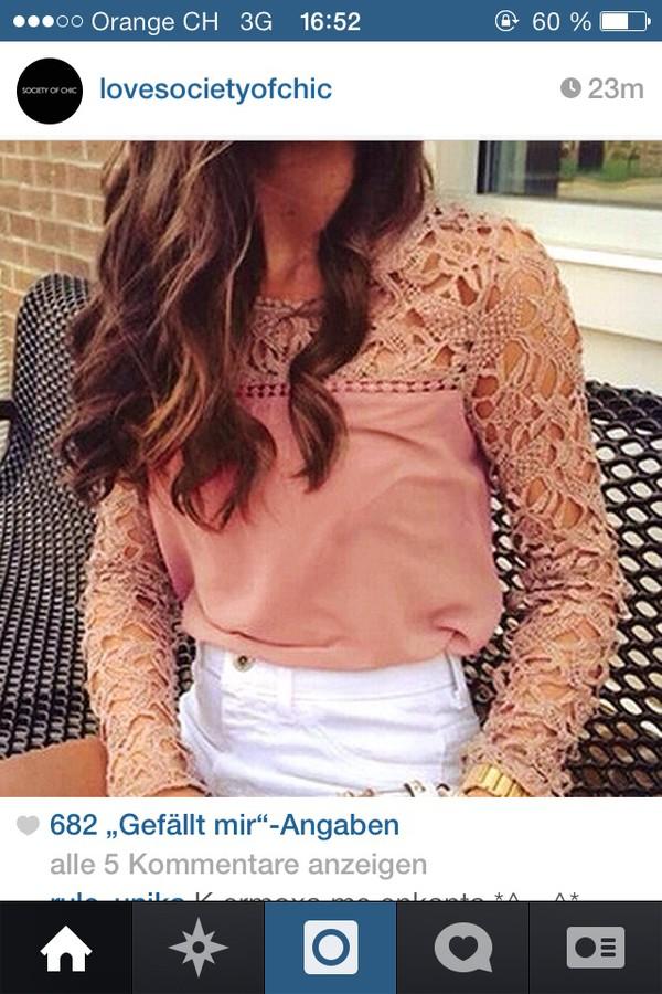 blouse rose long sleeves