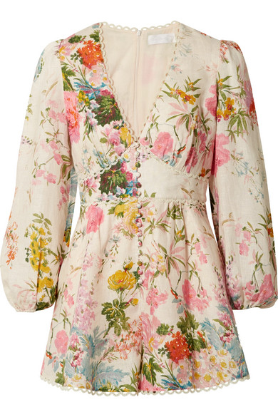 Zimmermann - Heathers picot-trimmed floral-print linen playsuit