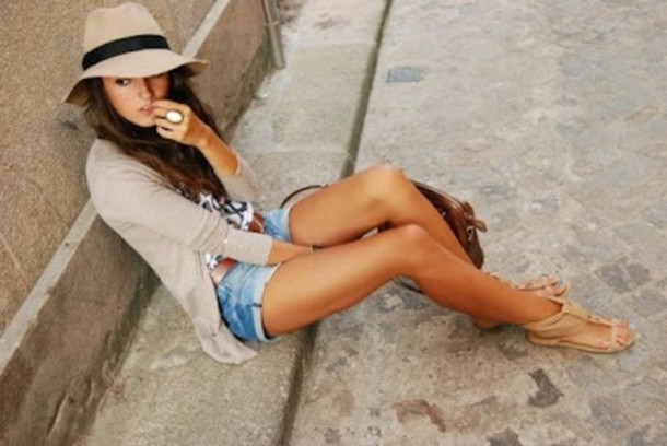 shorts flat sandals summer outfits hat shoes cardigan shirt fashion style cute sandals nude sandals cuffed shorts