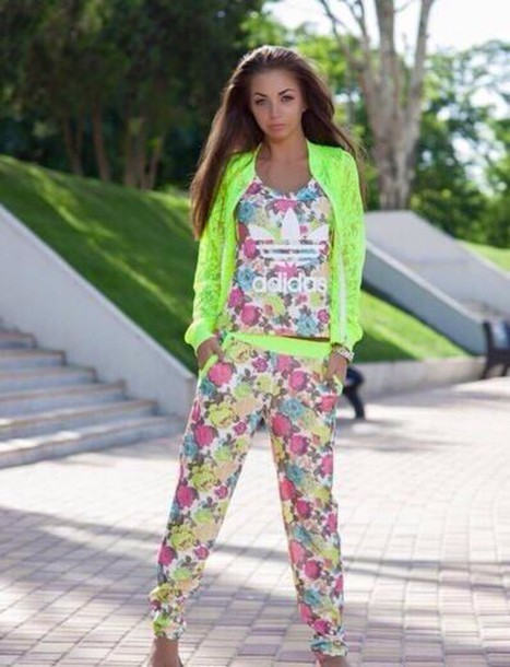 jumpsuit addidas printed flowers sport wear