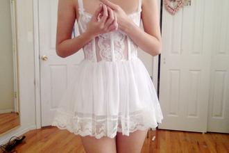 underwear lingerie alternative hipster girly dress white white dress white lingerie white little dress lace dress white lace dress lace cute cute dress