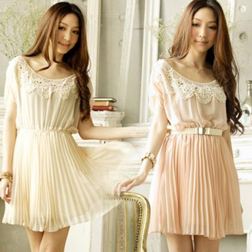 8614 Hot Women Ruili fashion ladies hook creased woven lace round neck bat sleeve chiffon dress with 3colors mixed DHL free ship-in Dresses from Apparel & Accessories on Aliexpress.com