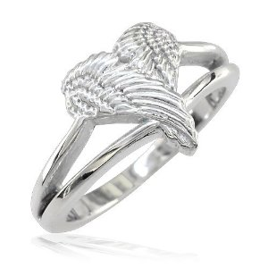 Amazon.com: Small Angel Heart Wings Ring, Wings Of Love, 12mm in Sterling Silver: Jewelry