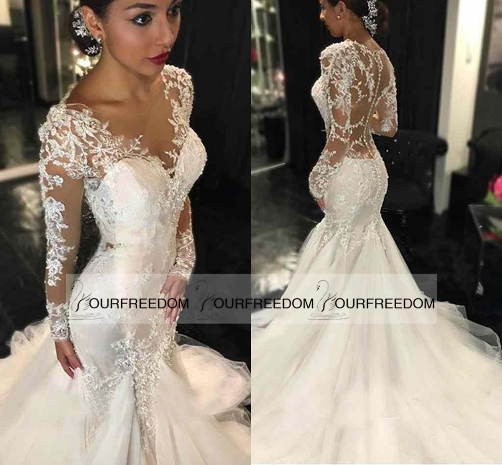 Gorgeous 2016 illusion back long mermaid wedding dresses for Winter mermaid wedding dresses