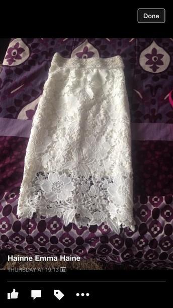 skirt lace white skirt lace skirt cream skirt
