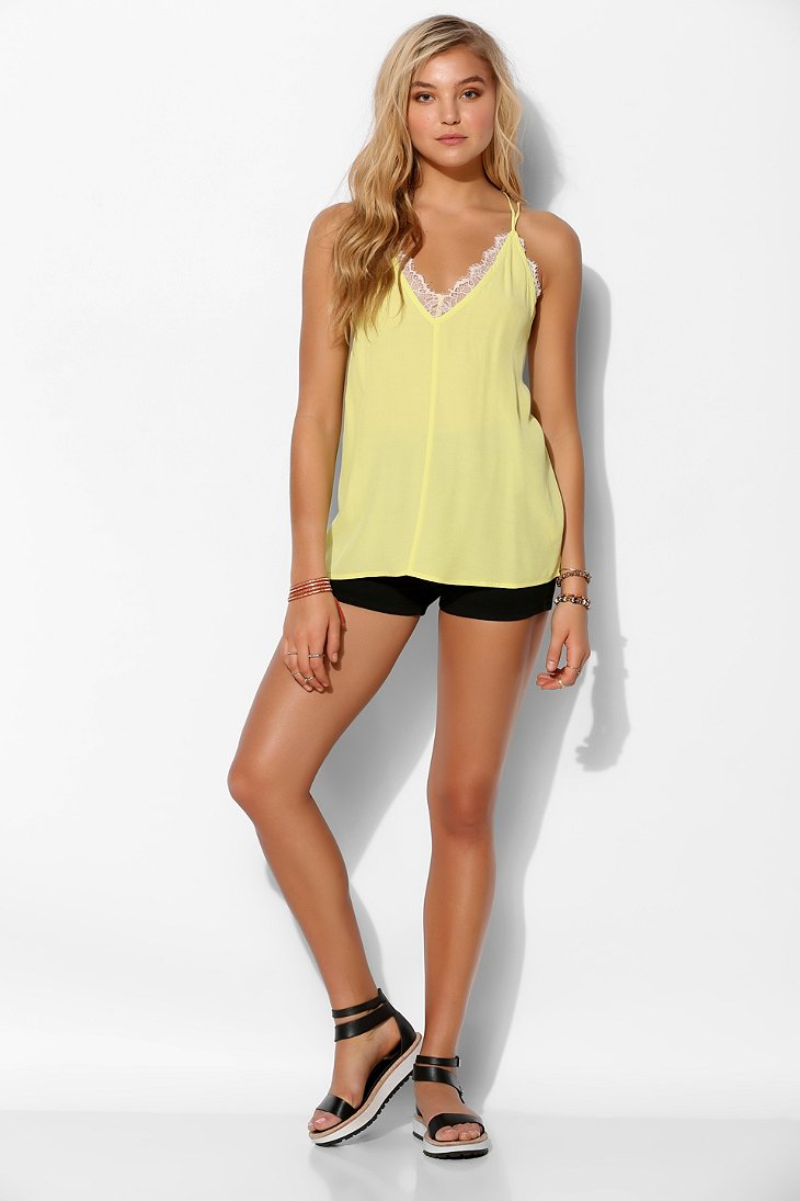 Yellow criss cross backless lace vest